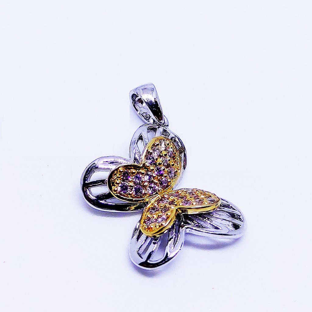 Flutter - Butterfly Pendant With White Base Metal