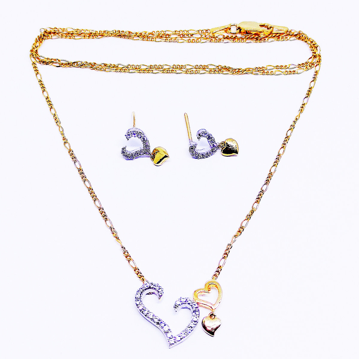 HEART-TO-HEART Pendant & Earrings with Chain